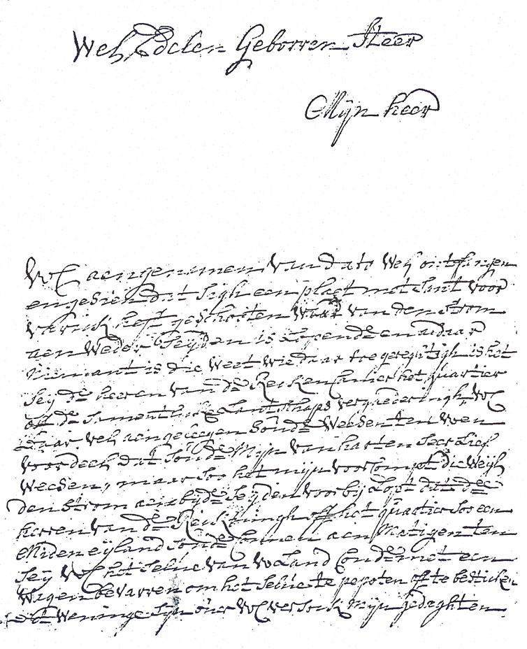 Brief van JD van Leeuwen aan de heer Vosch van Avesaeth